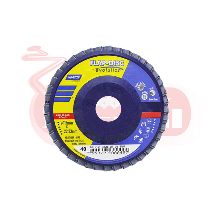 FLAP DISC EVOLUTION NORTON GRAO 40 115X22,23mm